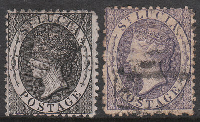 ST LUCIA 1884 #11x #13x VARIETY WMK REVERSED USED VICTORIA STAMPS P12.5