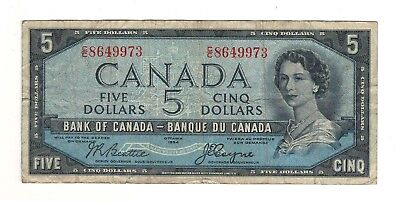 Canada 1954 $5 Bank of Canada Banknote C/C Devil's Face