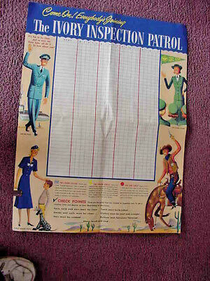 Vintage Ivory Soap Inspection Patrol Girl Scouts School Room Poster Roster