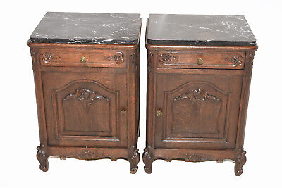 Nice Clean pair of Vintage French Nightstands with Marble Tops, Oak, 1920's