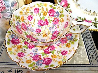 Royal Stafford Tea Cup And Saucer Chintz June Rose Pattern Teacup Wide Mouth