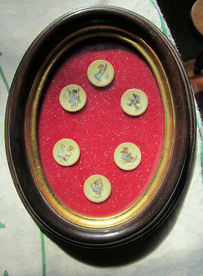 """M. J. HUMMEL MADE IN W. GERMANY 6 FRAMED MINI 1"""" PLATES cUTE AS A BUTTON 1971-76"""