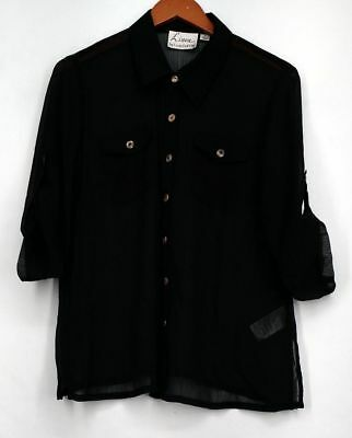 Linea by Louis Dell'Olio Top Sz M 3/4 Sleeve Sheer Button Front Black Womens