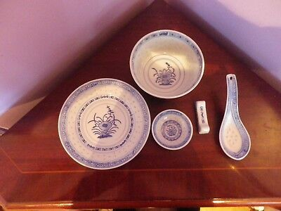 Set Five Chinese Rice Inlaid Flower Des Items 2 Bowls,plate,spoon,chopstick Rest
