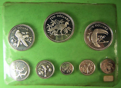 1974 SOLID STERLING SILVER BELIZE PROOF SET 8 COINS No PACKAGING or COA