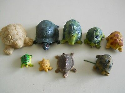 9 Vintage Turtles 1 Tan Mexico 8 Hard Plastic Hong Kong Inarco 1971