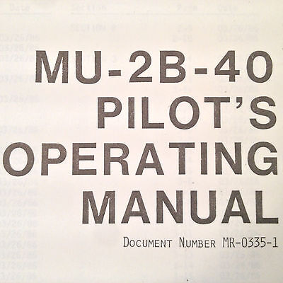 mitsubishi mu-2b-40 solitaire pilot's operating manual
