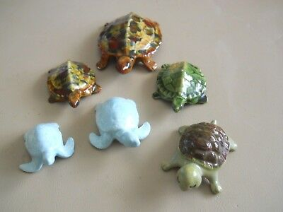 6 Vintage Ceramic Turtles from Molds '70's & '80's
