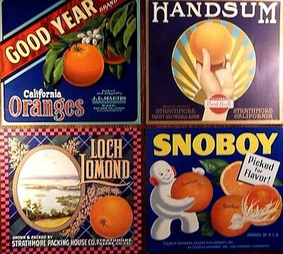 Crate Labels - Set Of 4 - All Original From Ca. Orange Growers - Excellent Cond.