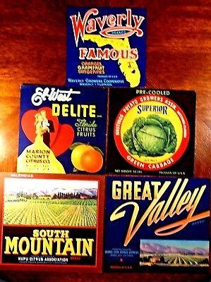 Crate Labels - Very Nice Mix Of 5 Original Pieces - All In Great Condition