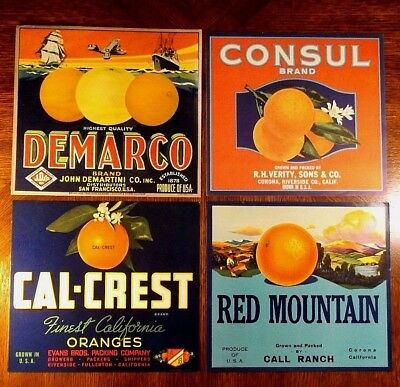 Crate Labels - Original Set Of 4 - All From California - All Orange Growers
