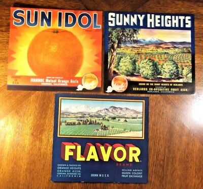 Crate Labels - Original Set Of 3 - All From California - Some Slight Tattering