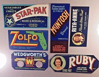 Crate Labels - Excellent Set Of 6 - All Original From Florida - Excellent Cond.
