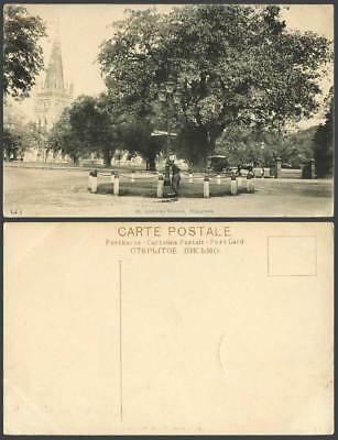 Singapore Old Postcard St. Andrew's Church Cathedral A Street Sweeper Horse Cart