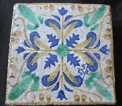 """great rustic vintage tile Fortunata made in Italy 4"""" sq wh w blue, green, yellow"""
