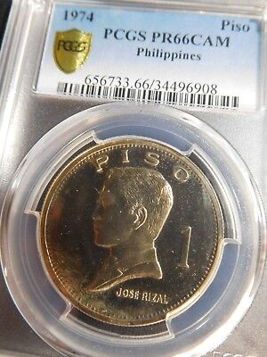INV #Th257 Philippines 1974 Piso PCGS Proof-66 CAMEO