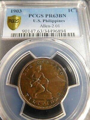 INV #Th258 Philippines 1903 Centavo PCGS Proof-63 Brown