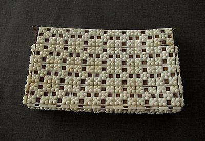 Vintage 50's Plasticflex? Mesh White Plastic Dotted Squares Zipered Clutch Purse