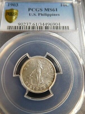 INV #Th266 Philippines 1903 10 Centavos PCGS MS-61