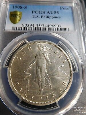 "INV #Th269 Philippines 1908-S Inverted ""S"" Peso PCGS AU-55"