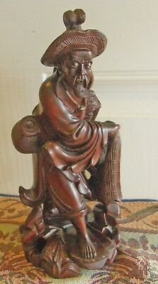 Antique Japanese Hand Carved Fisherman With Net & Creel Signed Exceptional As Is