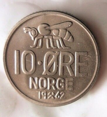 1962 NORWAY 10 ORE - AU Collectible Coin - FREE SHIP - Norway Bin BB
