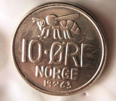 1963 NORWAY 10 ORE - AU Collectible Coin - FREE SHIP - Norway Bin BB