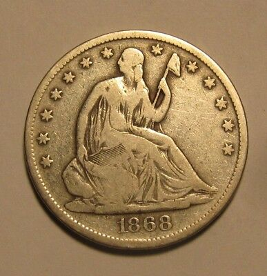 1868 S Seated Liberty Half Dollar - VG to Fine Condition RARE - 140SA