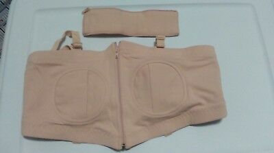 2 Large Hands Free Pumping Bustier Nursing Bra Large Beige And Black New