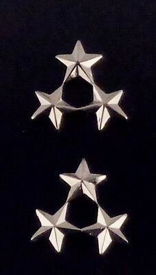 "Police Deputy Assistant Chief/Sheriff 3 stars 3/8"" Cluster Silver Collar Pins"