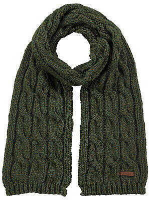 Barts Knit Scarf Scarf Green JP Cable Braid Pattern Chunky Knitted