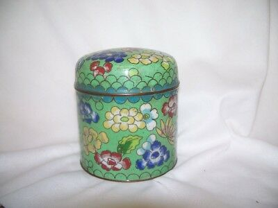 Chinese Cloisonne Enamel on Brass Flower Dome Top Jar Can Lid Green Blue Yellow