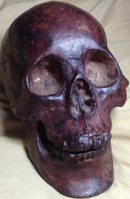 Old Cast Bronze / Brass Life Size Human Skull - Great Look & Detail