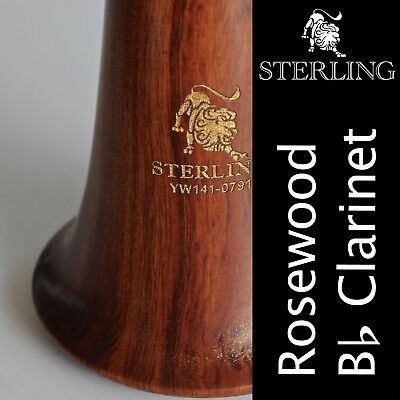 ROSE WOOD Bb CLARINET  • STERLING Pro-Quality Wooden • Brand New • With Case •