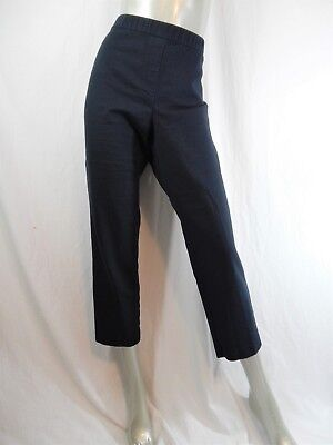 J Jill Deep Blue Cozy Essential Cotton Stretch Knit Cropped Pants Sz 14 P