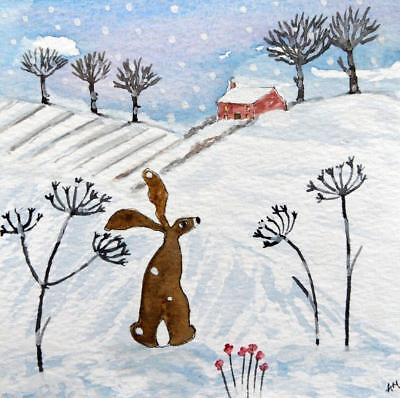 Original Watercolour Painting: ANIMALS/LANDSCAPE:  HARE IN SNOWY MEADOW