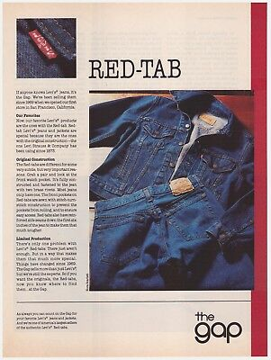 Original 1985 Levi's & The Gap Red-Tab Jeans Vintage Print Ad