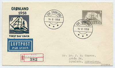 GREENLAND 1958 Ship definitive 5 Kr. on FDC