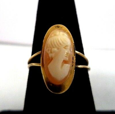 Stunning Antique Estate Carved Shell Cameo Sz 7 1/4 Ring!!! G6656M