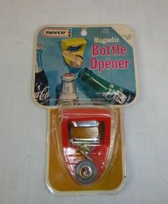 NOS Vtg Nevco Magnetic Wall Mount Bottle Opener Red Orange original Pkg