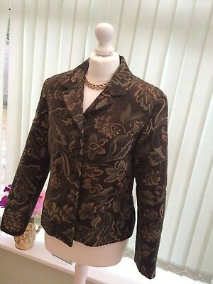 Womens Vintage Tapestry Floral Hippy Bohemian Jacket Size 16