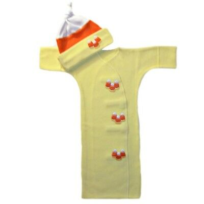 Candy Corn Halloween Baby Gown Hat Clothing Set - 4 Preemie and Newborn Sizes
