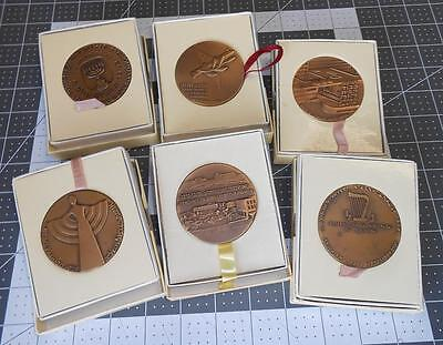 Jewish Judaica Bronze Medals State Of Israel 6 Different 1965 to 1976