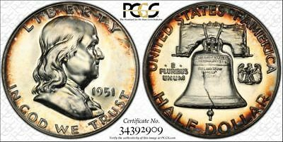 1951 PCGS MS64 Colorful Toned Proof Franklin Half Dollar with TrueView (mb1400)
