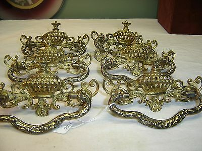 Set of 6 Antique Cast Brass Drawer Pulls 9105