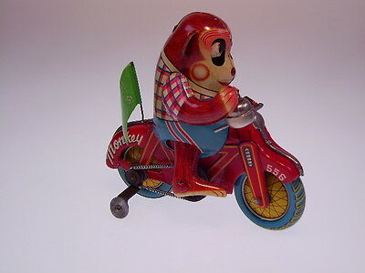 "GSMOTO ""MONKEY CYCLE"" ALPS TOYS, 12cm, WIND UP OK, LIKE NEU/NEW/NEUF IN BOX !!"