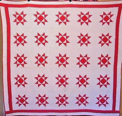 Antique Red And White Star Quilt C 1880  Great Quilting