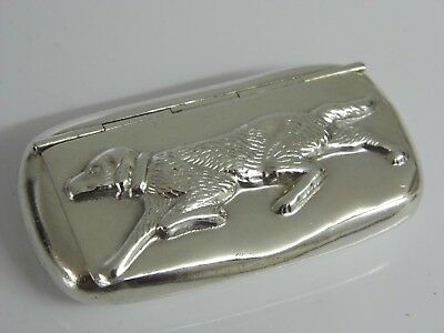 An Exquisite Vintage Hallmarked Hound Dog Solid Sterling Silver Snuff Pill Box