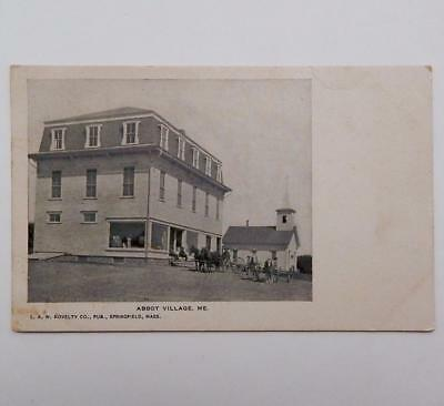 Antique Early Abbot Village Me Store Church Men & Horse Drawn Wagons Postcard