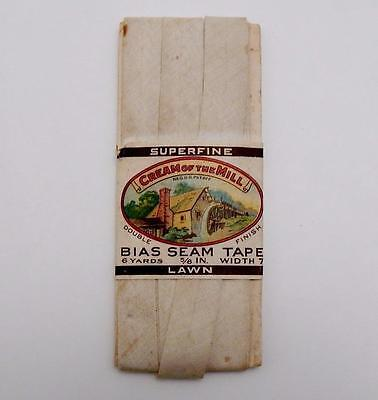 Vintage 1922 Cream of The Mill Bias Seam Tape with Color Paper Label